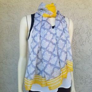 Michael Stars Gray & Yellow Print Silk Neck Scarf
